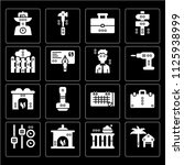 set of 16 icons such as rent ...