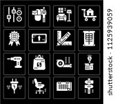 set of 16 icons such as panel ...