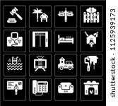 set of 16 icons such as hearth  ...