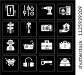 set of 16 icons such as worker  ...