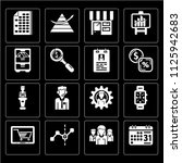 set of 16 icons such as weekly...