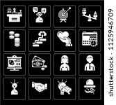 set of 16 icons such as sir ...