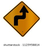 isolated sharp turn road sign...   Shutterstock . vector #1125958814