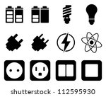 electricity and energy icon set.... | Shutterstock .eps vector #112595930
