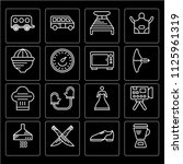 set of 16 icons such as blender ...