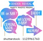 gender reveal gradient party... | Shutterstock .eps vector #1125961763