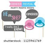 gender reveal party photo booth ... | Shutterstock .eps vector #1125961769