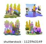 gardeners set. men working in...   Shutterstock .eps vector #1125963149