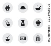 set of 9 editable kitchen icons.... | Shutterstock .eps vector #1125965903