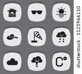 set of 9 editable climate icons.... | Shutterstock .eps vector #1125966110