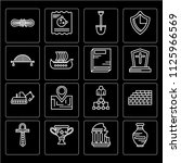 set of 16 icons such as vase ...