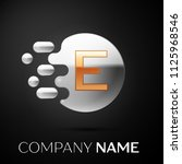 gold letter e logo. silver dots ... | Shutterstock .eps vector #1125968546
