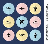 set of 9 jet filled icons such... | Shutterstock .eps vector #1125969359