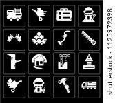 set of 16 icons such as gas can ...