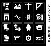 set of 16 icons such as saw ...