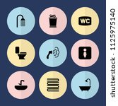set of 9 bathroom filled icons... | Shutterstock .eps vector #1125975140
