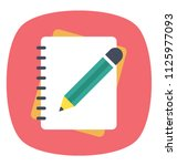 pencil with notebook  flat... | Shutterstock .eps vector #1125977093