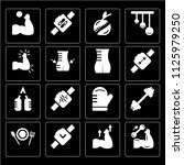 set of 16 icons such as muscle  ... | Shutterstock .eps vector #1125979250