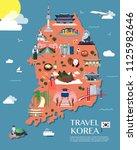 map of korea attractions vector ... | Shutterstock .eps vector #1125982646