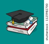 graduation cap illustration on... | Shutterstock .eps vector #1125982700