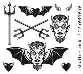 devil set of black vector... | Shutterstock .eps vector #1125984959