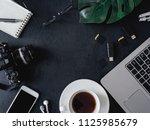 top view of office desk concept ... | Shutterstock . vector #1125985679
