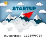 paper plane are competition to... | Shutterstock .eps vector #1125999719