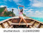 summer lifestyle traveler woman ... | Shutterstock . vector #1126002080