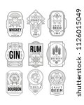 alcohol labels set  retro... | Shutterstock .eps vector #1126015049
