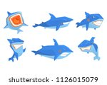 flat vector set of blue shark... | Shutterstock .eps vector #1126015079