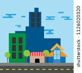 vector of a mini town showing... | Shutterstock .eps vector #1126020320