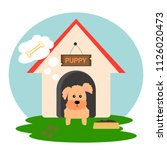 cuty puppy in doghouse thinking ... | Shutterstock .eps vector #1126020473