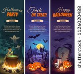 halloween banners with text and ... | Shutterstock .eps vector #1126020488