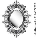 baroque silver mirror frame....   Shutterstock .eps vector #1126027919