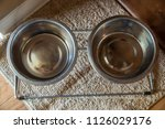 dog bowl food water top down... | Shutterstock . vector #1126029176