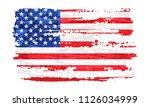 grunge flag of usa.vector... | Shutterstock .eps vector #1126034999