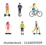 people on eco transport  ... | Shutterstock .eps vector #1126035509