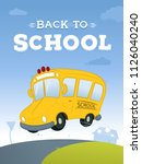 yellow school bus on the road... | Shutterstock .eps vector #1126040240