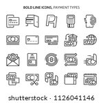 payment types  bold line icons. ... | Shutterstock .eps vector #1126041146