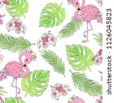 hand drawn cute flamingo with... | Shutterstock .eps vector #1126045823
