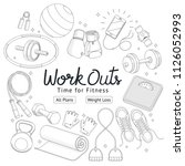 fitness workouts hand drawn... | Shutterstock .eps vector #1126052993