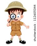 boy scout with magnifying glass | Shutterstock .eps vector #112605344