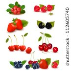 big group of fresh berries.... | Shutterstock .eps vector #112605740