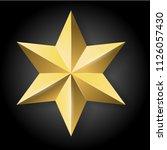 vector realistic golden star on ... | Shutterstock .eps vector #1126057430