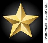 vector realistic golden star on ... | Shutterstock .eps vector #1126057433