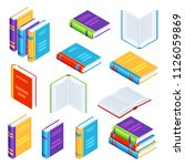 set of isometric book icons.... | Shutterstock .eps vector #1126059869