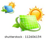 Solar panels and batteries for alternative energy concept, such a logo. Jpeg version also available in gallery