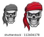 danger pirate skull in bandane...