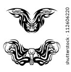 Motorcycles mascots with tribal flames for tattoo design. Jpeg version also available in gallery - stock vector