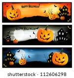 three halloween banners. vector. | Shutterstock .eps vector #112606298